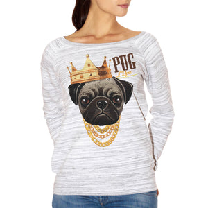 FELPA FASHION DONNA pug-life-carlino-cane-dog-pet-animali-gold-crown