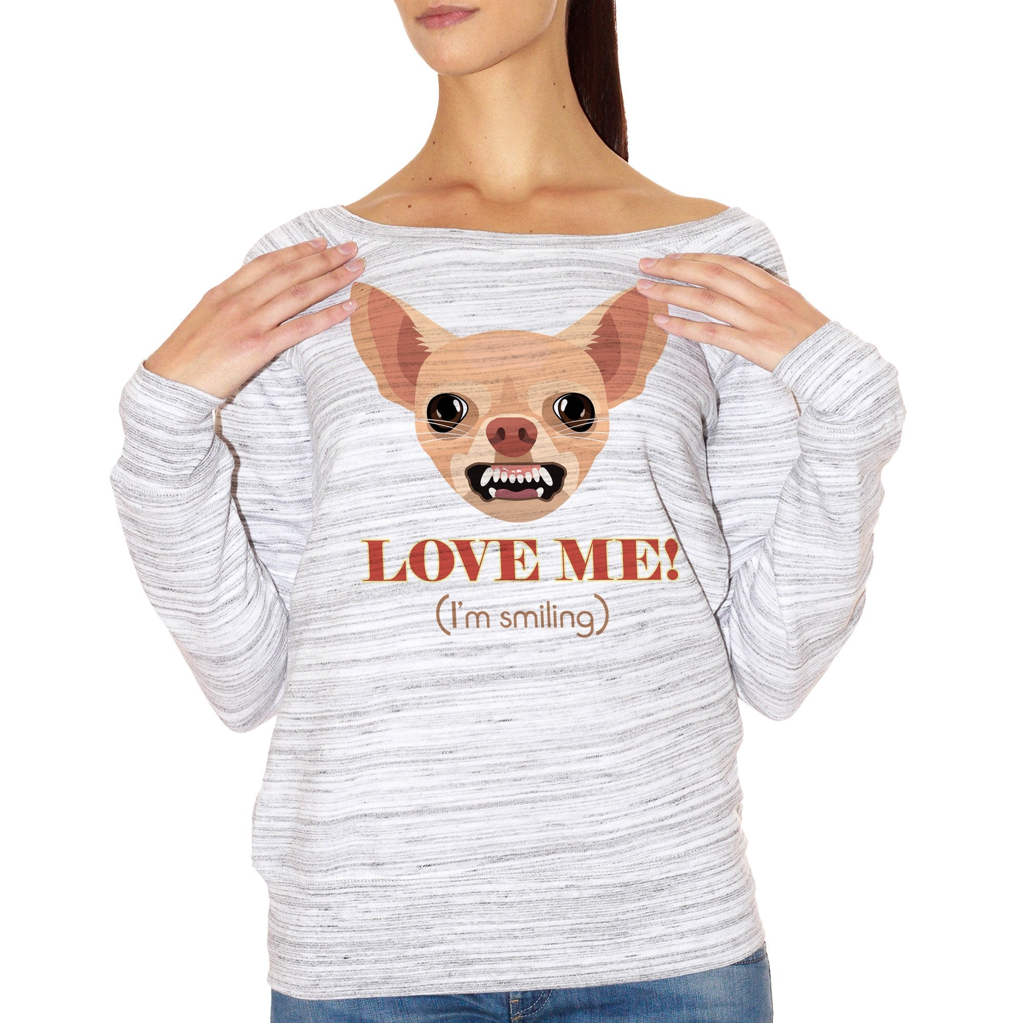 FELPA FASHION DONNA chihuahua-chiwawa-cane-dog-smile-pet-aninali-funny