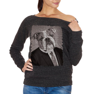 FELPA FASHION DONNA bulldog-cane-pet-funny-business-elegant-photo-antico-ritratto - CUC #chooseurcolor