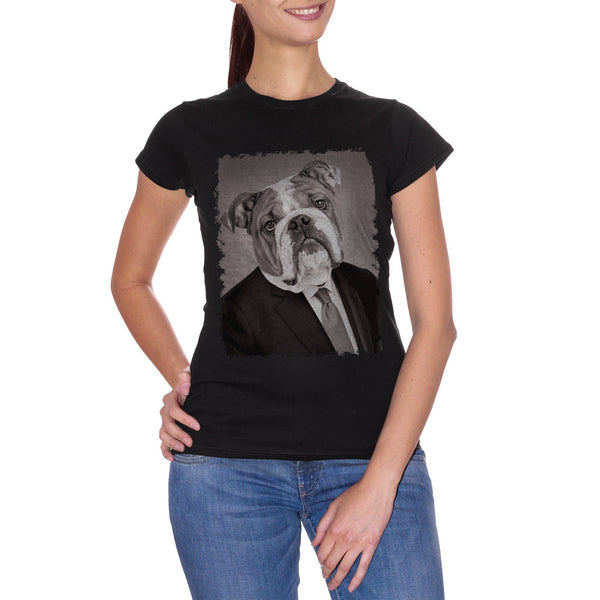 Black T-Shirt Bulldog Cane Pet Funny Business Elegant Photo Antico Ritratto - SOCIAL CucShop