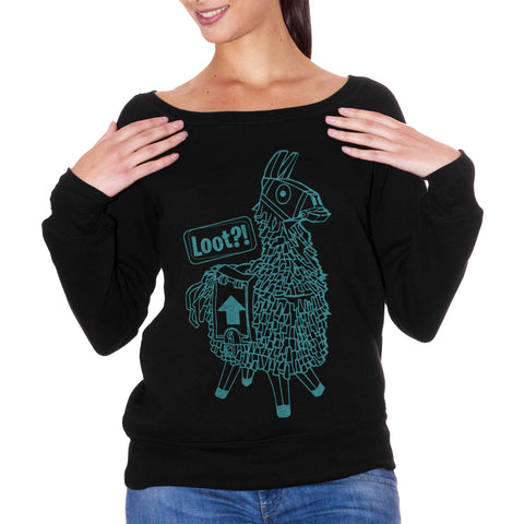 FELPA FASHION DONNA llama-loot-play-game-videogame - CUC #chooseurcolor