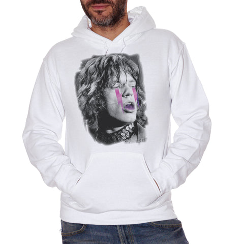 Felpa Cappuccio Mick Jagger Rolling Stones Vintage Star Black And White - Famous Choose ur Color