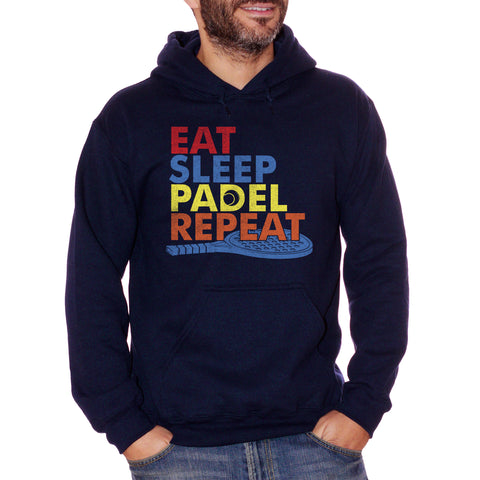 Black Felpa Cappuccio Eat Sleep Padel Repeat Frasi Divertenti Racchette - Funny Choose ur Color CucShop