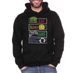 Black Felpa Cappuccio Eat Sleep Game Repeat Frasi Divertenti Videogiochi Nerd - Funny Choose ur Color CucShop
