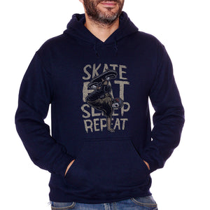 Felpa Cappuccio Jason Skate Eat Sleep Repeat Frasi Divertenti Skateboard - Funny Choose ur Color