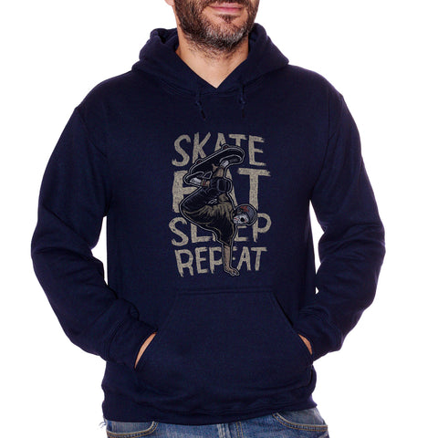 Black Felpa Cappuccio Jason Skate Eat Sleep Repeat Frasi Divertenti Skateboard - Funny Choose ur Color CucShop