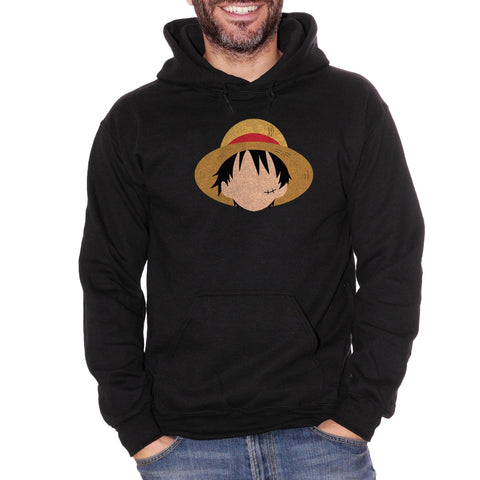 Black Felpa Cappuccio One Piece Monkey D Rufy Face - Giappone Cartoni Anime Cappello di Paglia Mugiwara no Luffy - Cartoon Choose ur color CucShop
