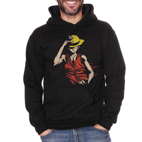 Black Felpa Cappuccio One Piece Monkey D Luffy - Giappone Cartoni Anime Cappello di Paglia Mugiwara no Rufy - Cartoon Choose ur color CucShop