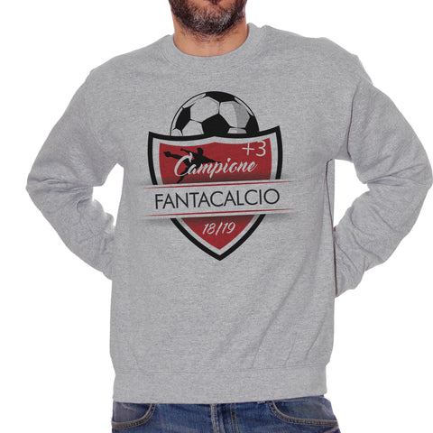 Dark Gray Felpa Girocollo Fantacalcio Campione +3 2018/2019 - Sport Choose ur Color CucShop