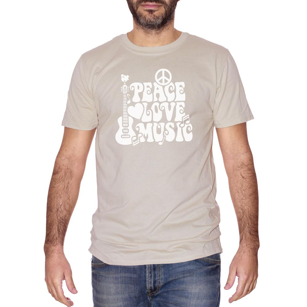 T-Shirt Peace Love & Music Woodstock - MUSIC Choose ur color