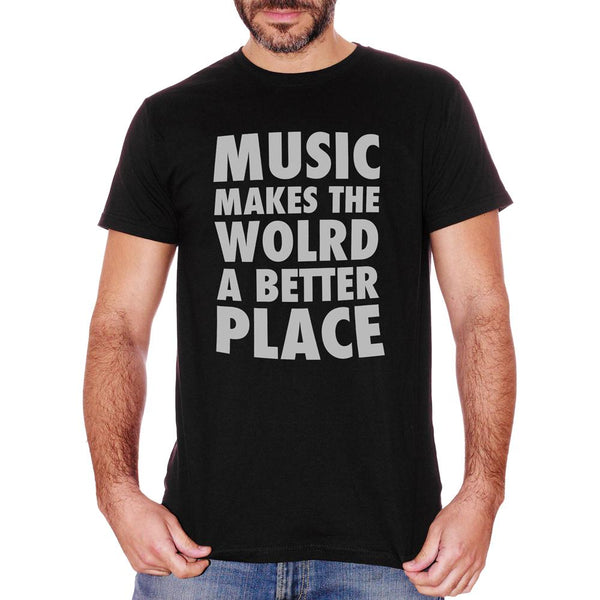 White T-Shirt Music Makes The World A Better Place - MUSIC Choose ur color CucShop