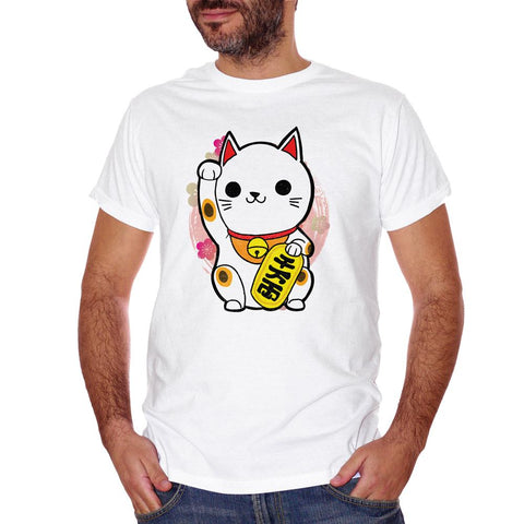 White Smoke T-Shirt Maneki Neko Gatto Giappone - POLITICA Choose ur color CucShop