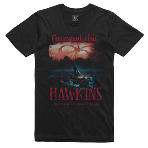 Dark Slate Gray T-Shirt Come and Visit Hawkins - Stranger Things - FILM Choose ur color CucShop