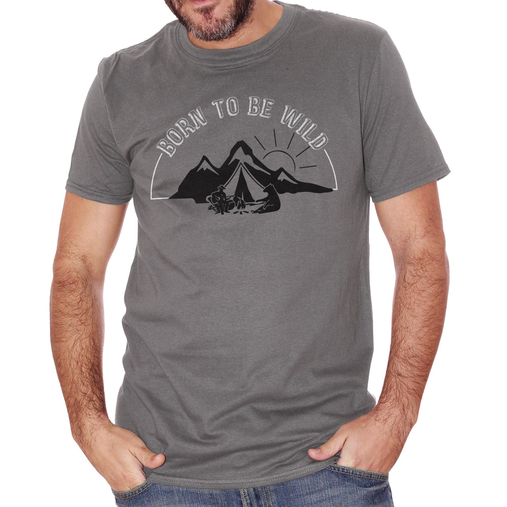 Dim Gray T-Shirt Born To Be Wild Nature Camp Camping - DIVERTENTE CucShop