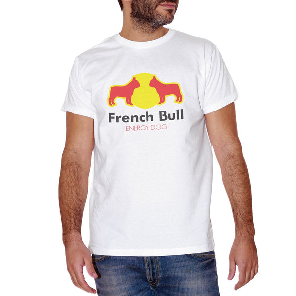 T-Shirt Frenchbull - Bull Dog Francese Energy Drink Red Bull - Parodia della Famosa bibita con Il Cane - Choose ur Color