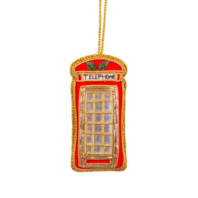 London Telephone Box Zari Embroidery Decoration