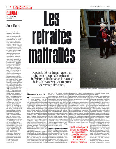 Macron braque les retraités. / The New York Times. 11 septembre 2018
