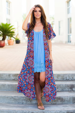 Judith March Neon Medallion Print Duster