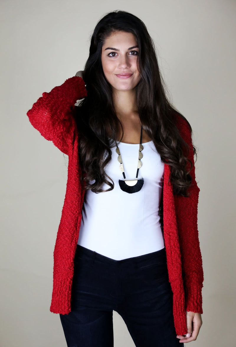 LONG SLEEVE CARDIGAN WITH POCKETS - RED