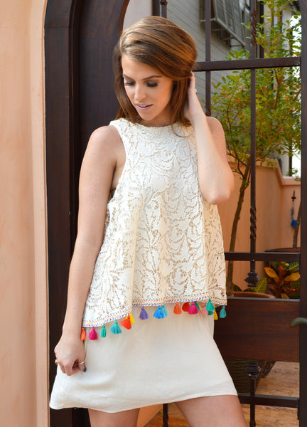 Judith March Cream crochet tank dress with tulip back and multi Pom Pom detail