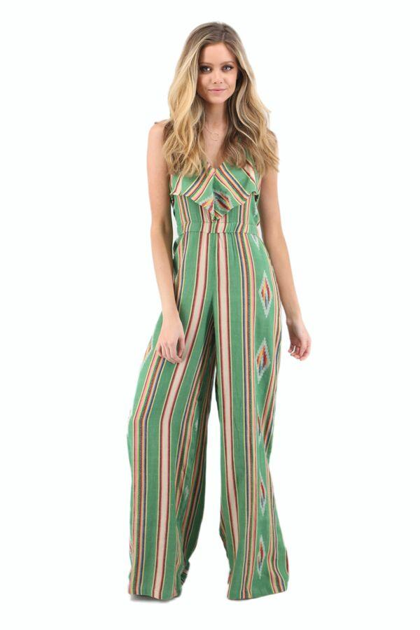 Green Aztec Jacquard Halter Jumpsuit with Ruffle Detail