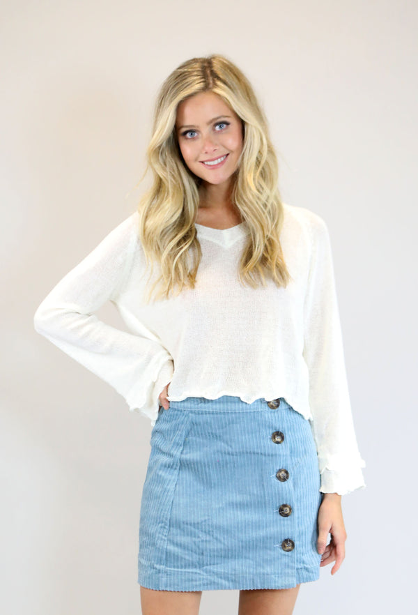 Corduroy Button Up Mini Skirt - Sky Blue