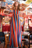 Judith March Marfa Stripe Deep V-Neck Maxi Dress