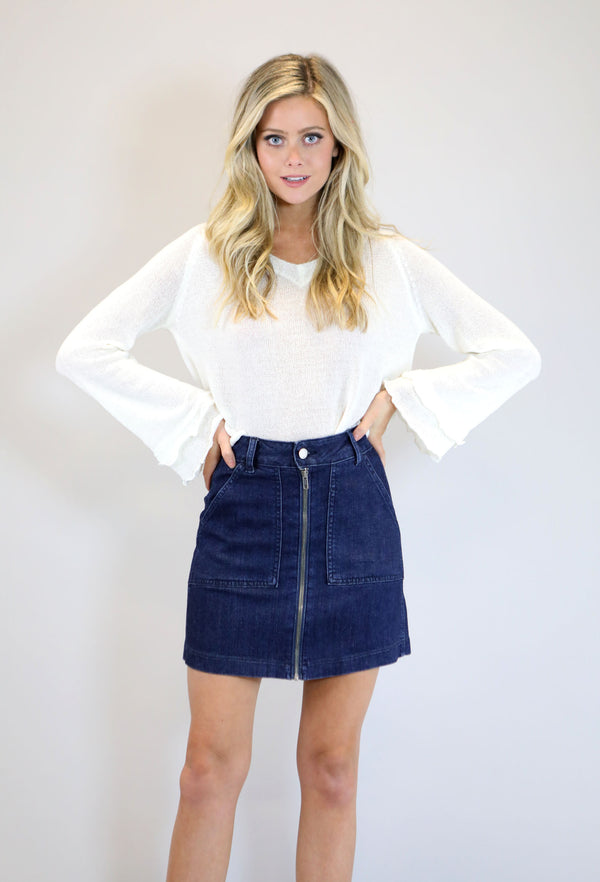 Zipper Front Skirt