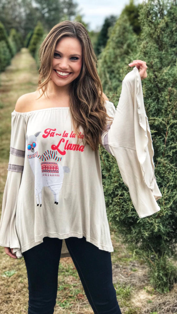 "Judith March Off the Shoulder Tee With ""Fa La La La Llama"""