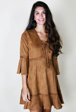 FLIRTY SUEDE DRESS