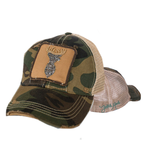 JUDITH MARCH BEADED DEER PATCH ON CAMO HAT