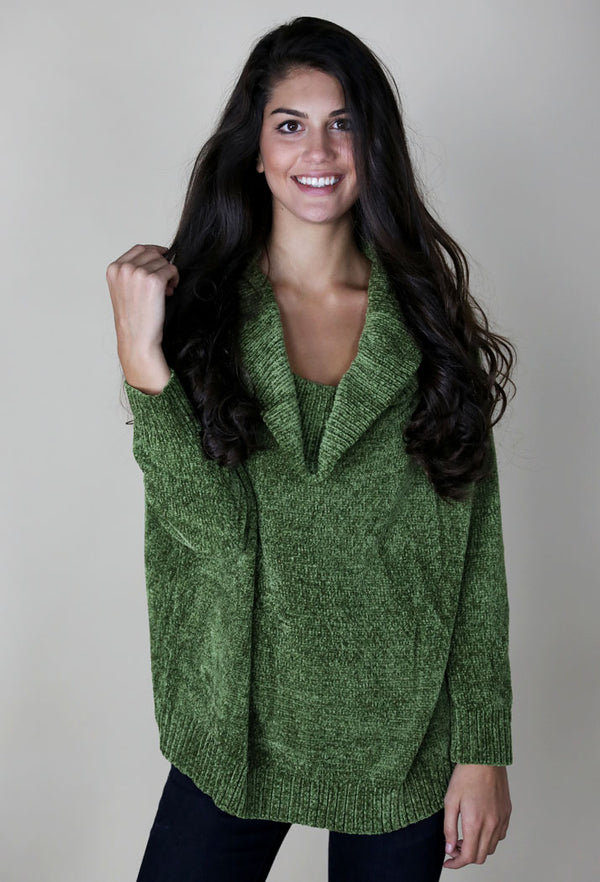 TWO WAY CHENILLE SWEATER - GREEN