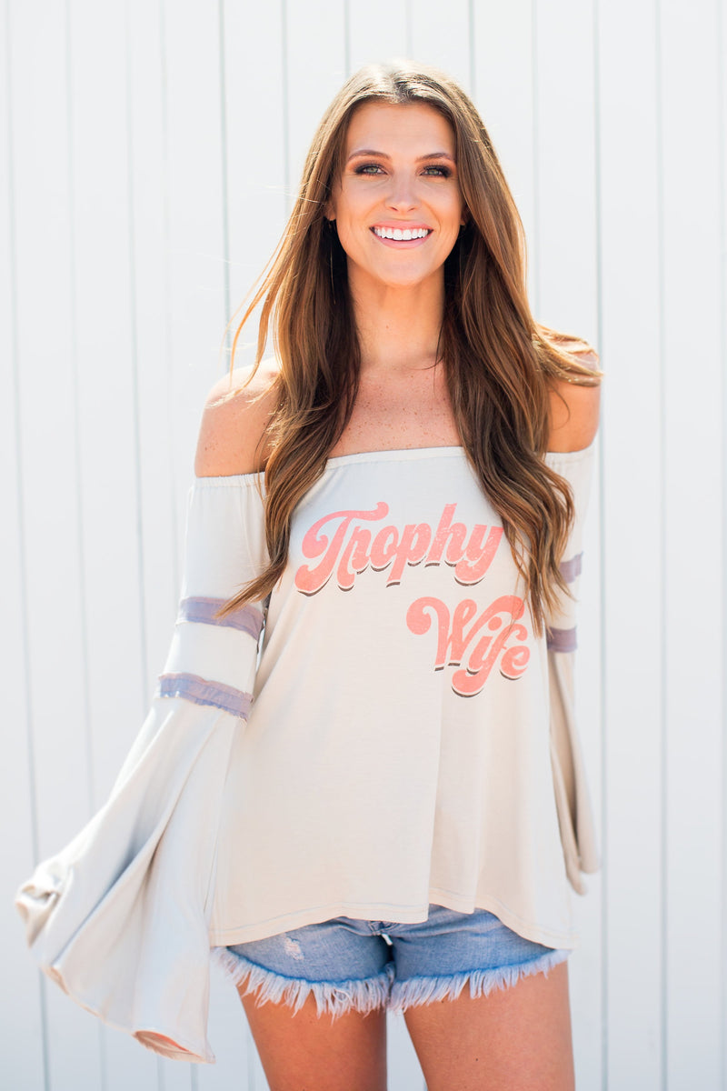 "JUDITH MARCH OFF THE SHOULDER TEE WITH ""TROPHY WIFE"""