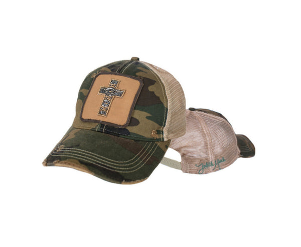 JUDITH MARCH BEADED CROSS PATCH ON CAMO HAT