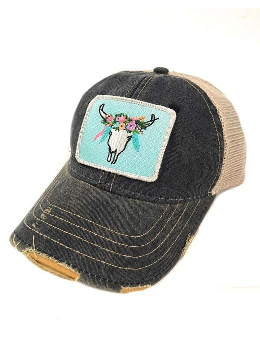 FLORAL STEER PATCH - NAVY