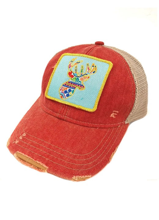 JUDITH MARCH PATCHWORK DEER PATCH - RED HAT