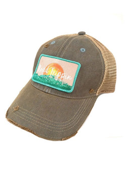 JUDITH MARCH SUNSET ROAD TRIPPIN PATCH - SKYE BLUE HAT