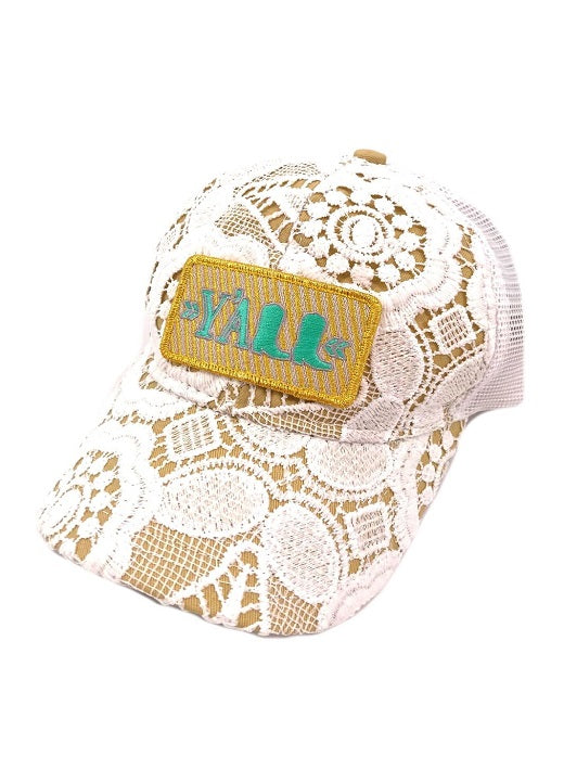 JUDITH MARCH GOLD STRIPE Y'ALL  PATCH - CROCHET HAT