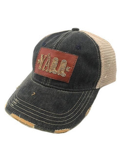 JUDITH MARCH BEADED LEATHER Y'ALL PATCH - NAVY HAT
