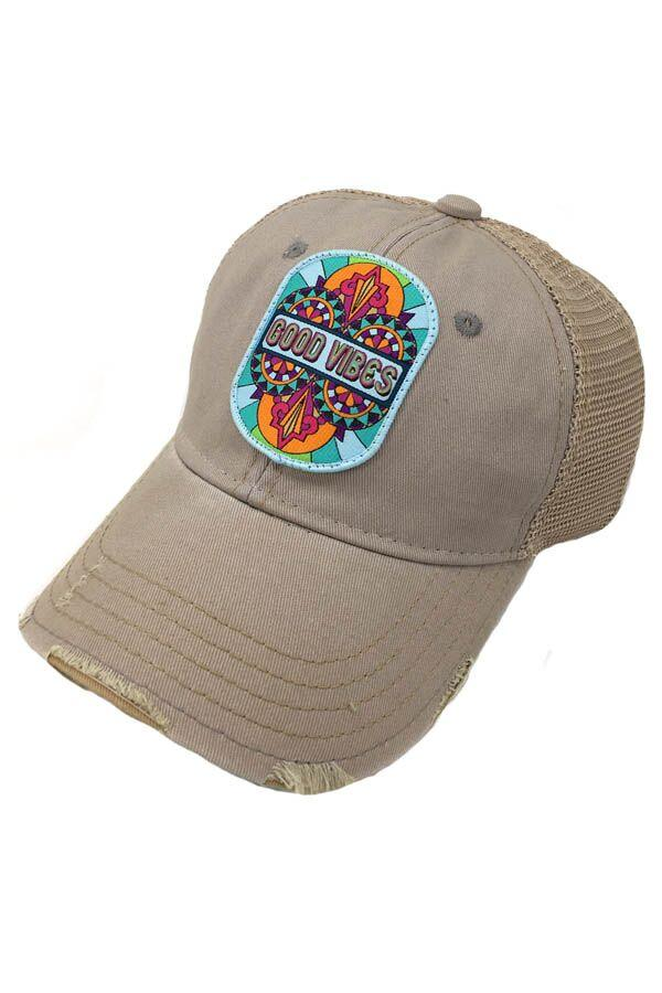JUDITH MARCH GOOD VIBES PATCH - GREY HAT
