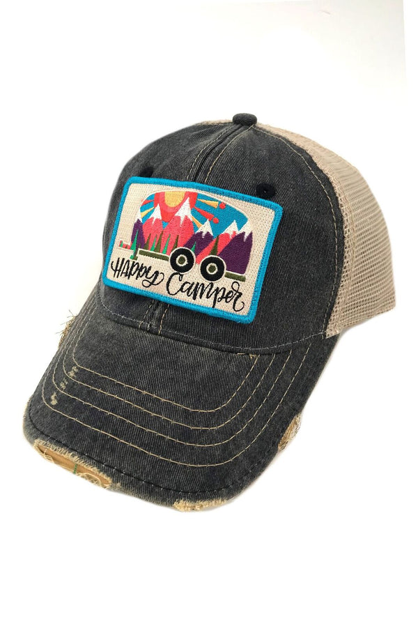 JUDITH MARCH ABSTRACT HAPPY CAMPER PATCH - NAVY HAT