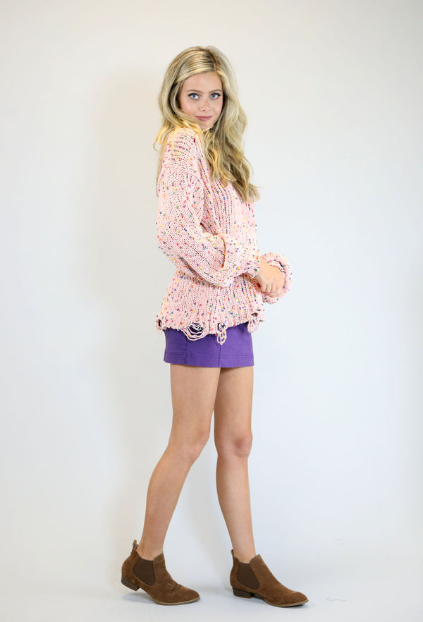 High Waist Panel Mini Skirt - Purple