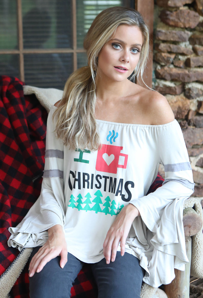"""I LOVE CHRISTMAS"" OFF THE SHOULDER JUDITH MARCH TEE"