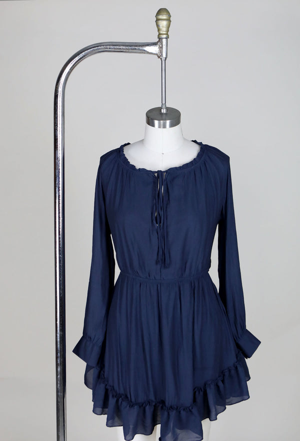 LONG SLEEVE RUFFLE DRESS - NAVY