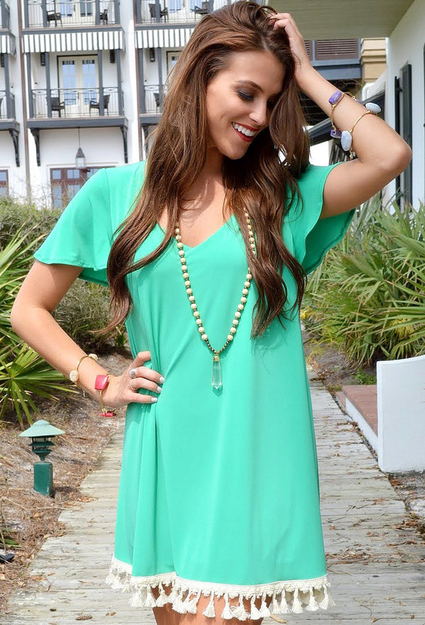 JUDITH MARCH GREEN DRESS WITH TASSELS