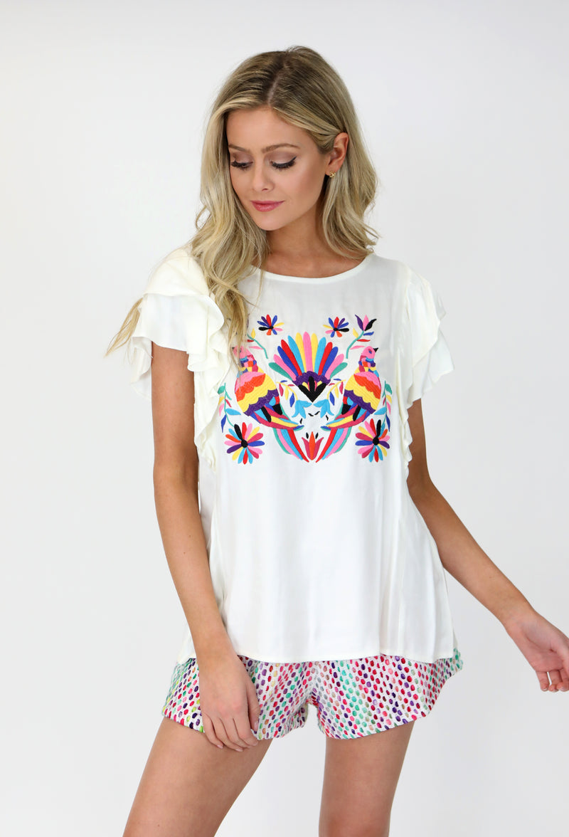 OFF WHITE RUFFLE SLEEVE TOP WITH MEXICAN BIRD EMBROIDERY