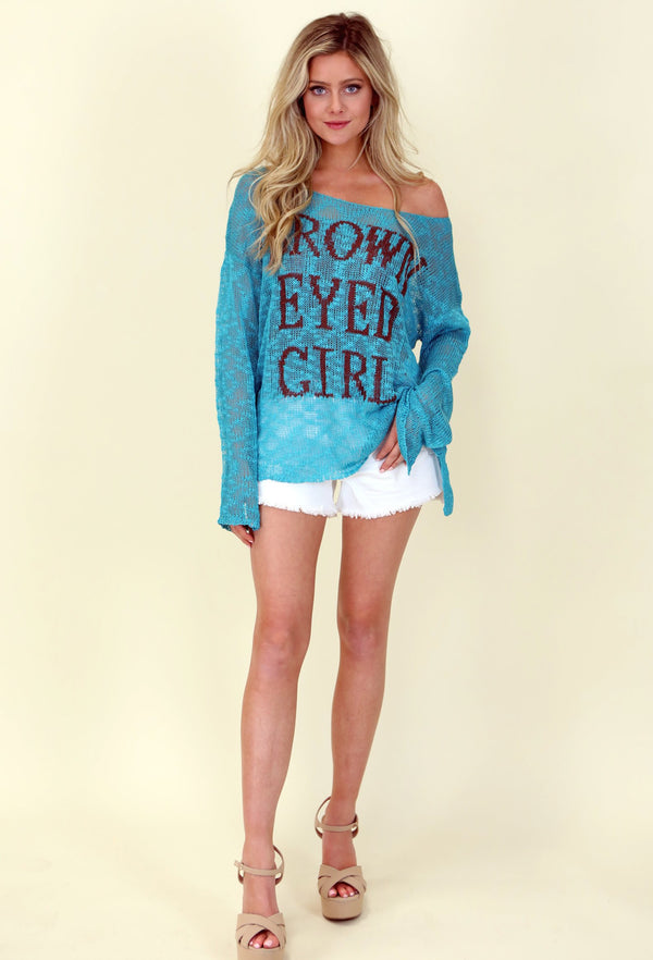 JUDITH MARCH BROWN EYED GIRL OPEN KNIT SWEATER