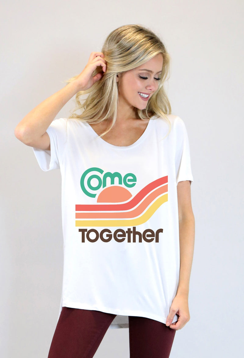 "WHITE ROUND NECK TEE W/SIDE SLITS FOR HURRICANE MICHAEL RELIEF ""COME TOGETHER"""