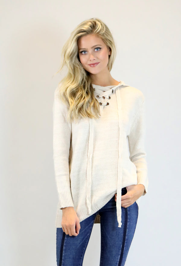 Hooded Sweater- Cream
