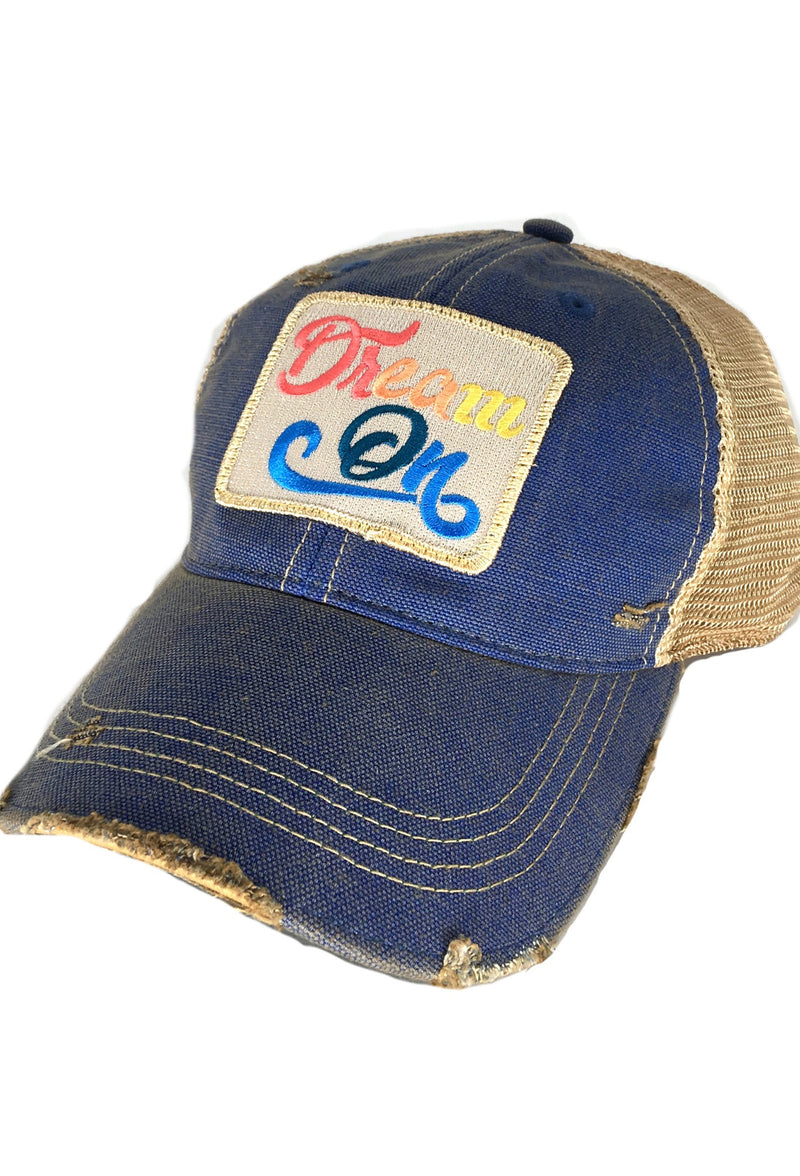 "Judith March Hat With ""Dream On"" Patch - Blue"